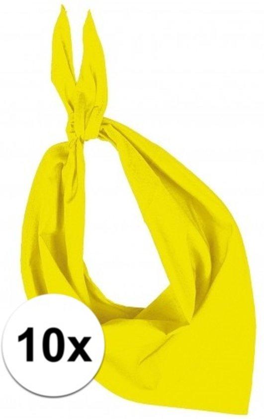 10x Zakdoek bandana geel - hoofddoekjes