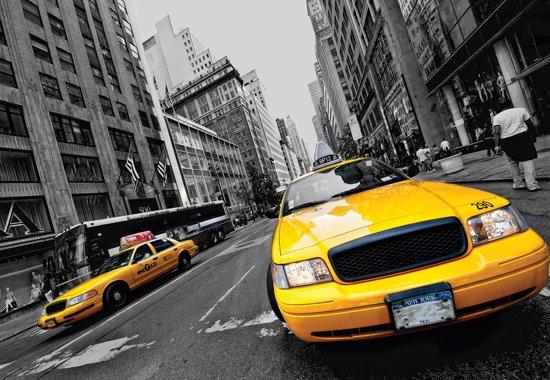 Fotobehang New York City Yellow Cabs | XL - 208cm x 146cm | 130g/m2 Vlies