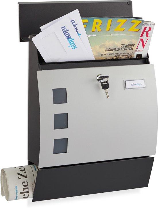 relaxdays brievenbus halfrond - met slot - naamplaathouder - wandbrievenbus - krantenrol Zwart-zilver