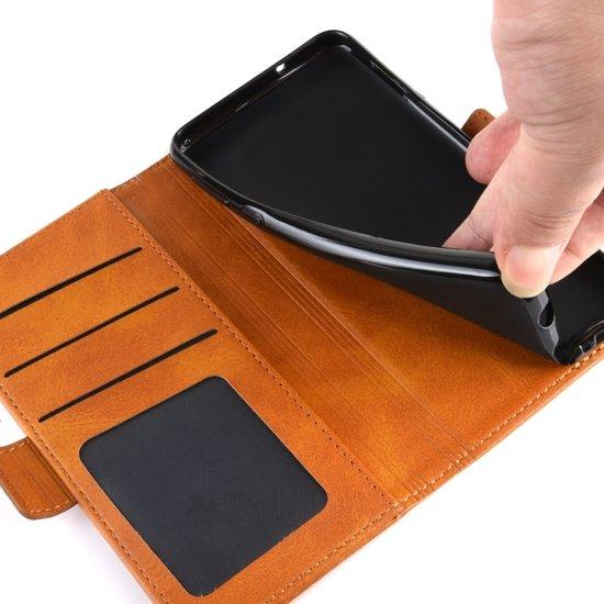 Mobigear Magnetic Buckle Retro Luxe Wallet Hoesje Zwart Motorola One Zoom