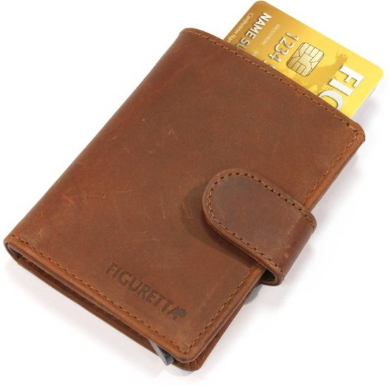 Figuretta RFID Card Protector - Creditcardhouder - Leer - Hunter Bruin