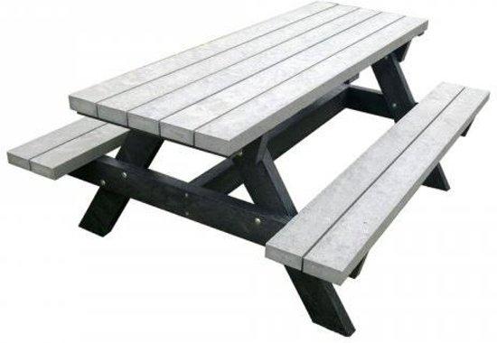 Rekupro Kunststof Picknicktafel - Massief Recycle Kunststof - 180x135cm - Grijs