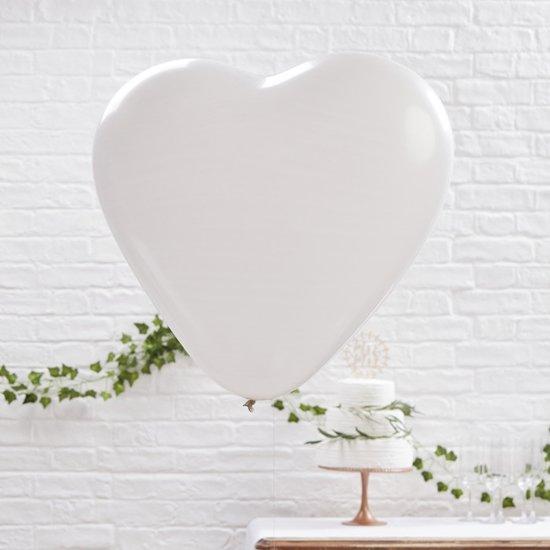 Ginger Ray Beautiful Botanics - XL hart ballon Ø 90 cm - wit - Set-3 Valentinaa