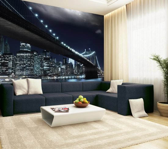 Muurposters New York.Fotobehang Muurposter Zelfklevend Brooklyn Bridge Cities 198 X 272 Cm Art 53004