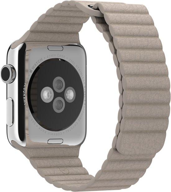 Bandje voor Apple Watch - Leer - 42mm - Steengrijs - Medium