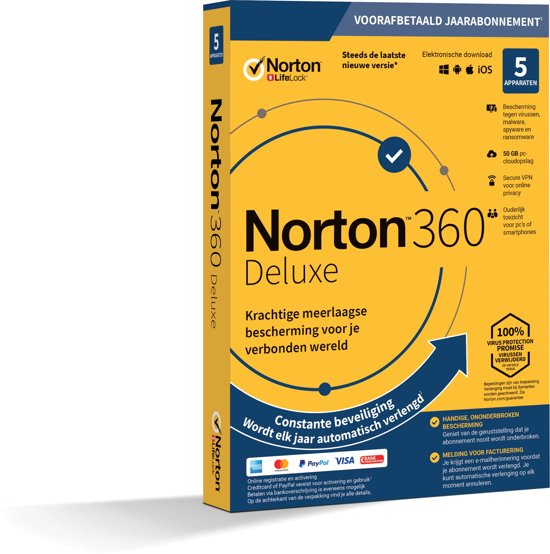 Norton Security Deluxe 3.0 - Nederlands / 5 Apparaten / 1 Jaar / Windows / Mac / iOS / Android
