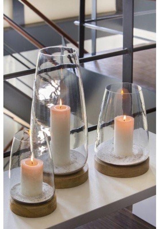 windlicht set glas hout rond bruin with windlicht zwart glas. Black Bedroom Furniture Sets. Home Design Ideas