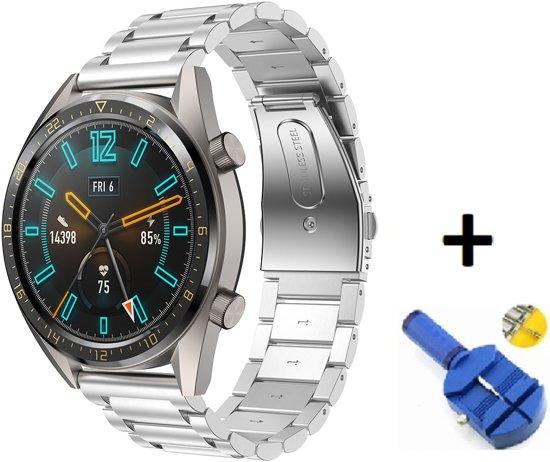 Metalen Armband Voor Huawei Watch GT Active/Classic/Sport Horloge Bandje - Schakel Polsband Strap RVS - Small/Large - Zilver Kleurig