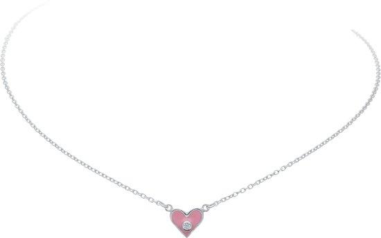 Lilly ketting hart - zilver - zirkonia - transparant - roze - anker - 38cm