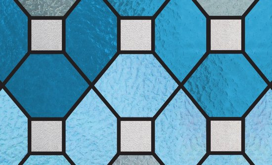 Raamfolie - Statisch plus - Glas in lood - Blauw - 45x150cm