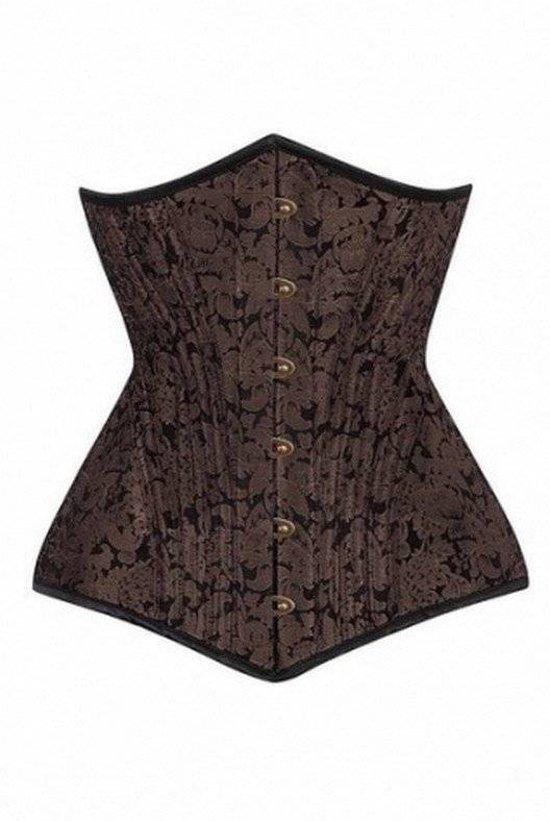 29db3d36a84b53 Vintage Goth Zwart Bruin Waisttrain Corset Maat 24 -Uw taille maat is 70-