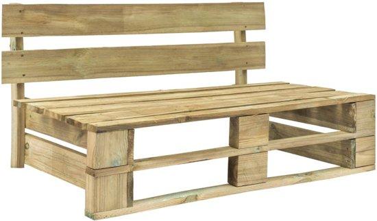 vidaXL Pallet tuinbank met grijze kussens FSC grenenhout