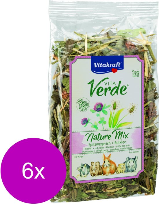 Vitakraft Vita-Verde Weegbree En Klaver - Knaagdiersnack - 6 x 70 g