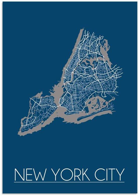 Plattegrond New York City Stadskaart poster DesignClaud - Blauw - A4 poster