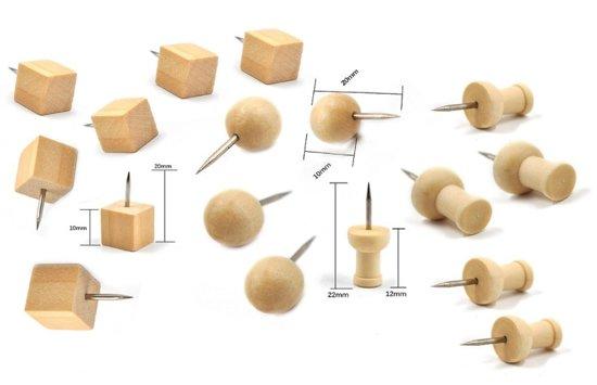Bol.com leuke set houten punaises 3 soorten 60 stuks