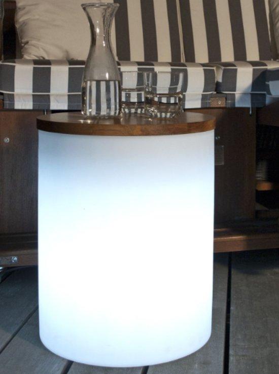 8 season shining drum 45 cm verlichte bijzettafel kruk pot 32359