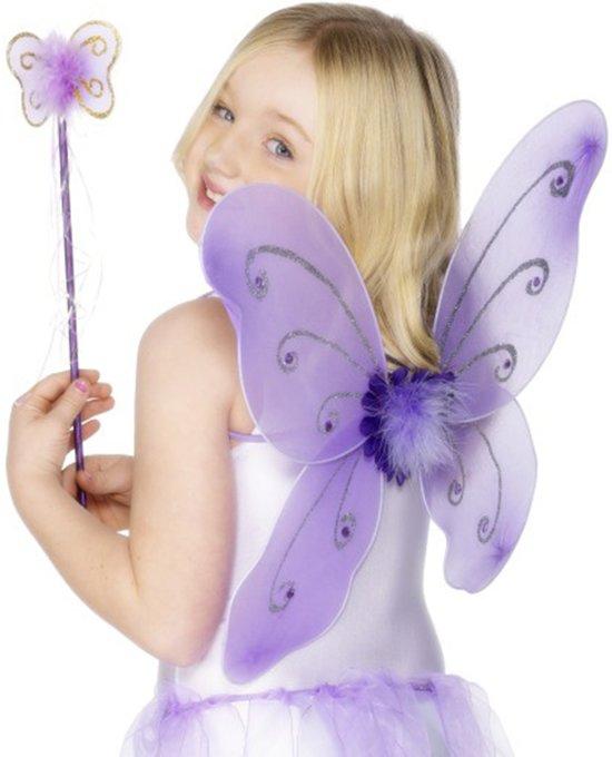 Paarse vlinderset voor meisjes - Verkleedattribuut