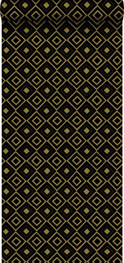 krijtverf vliesbehang ruit zwart en glanzend goud - 128829 van ESTAhome.nl