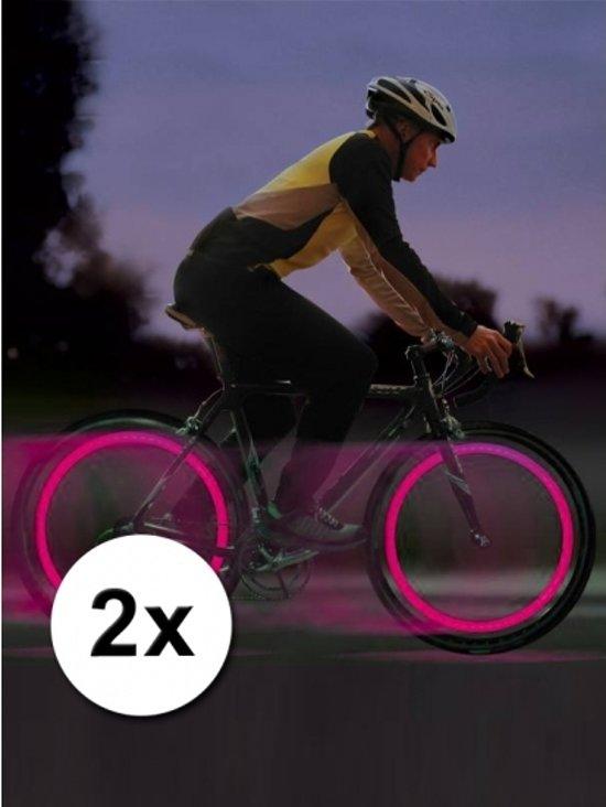 bol.com | Fiets ventiel verlichting wiel LED lampjes roze 2 stuks