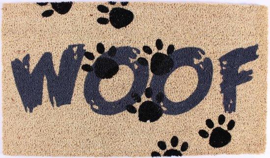 Deurmat Woof hond kokosmat paw pootjes thema dieren honden