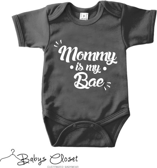 Unisex Romper Mommy is my bae Zwart