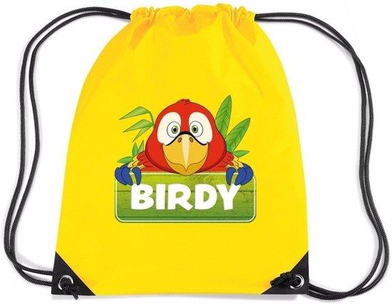 5a822d581b1 Birdy de Papegaai rijgkoord rugtas / gymtas - geel - 11 liter - voor  kinderen