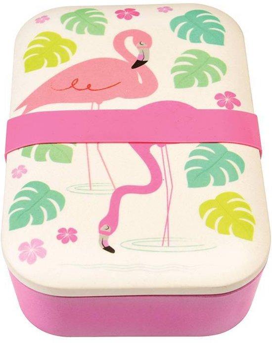 Rex London - Bamboe Vintage Lunchbox -  Flamingo - Roze - Gemaakt van 100& natuurlijk materiaal ! Valentinaa