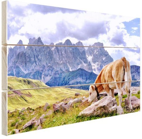 Koeien grazen alpenweide Hout 120x80 cm - Foto print op Hout (Wanddecoratie)