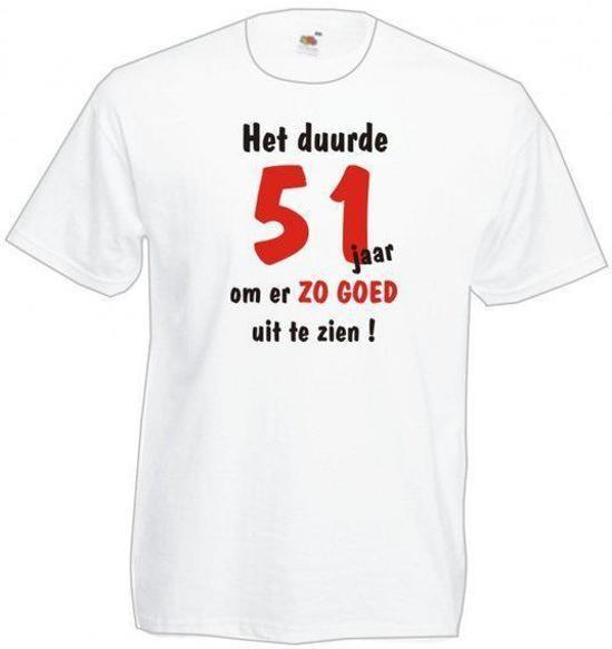 51 jaar bol.| Mijncadeautje Heren leeftijd T shirt Wit maat XXL Het  51 jaar