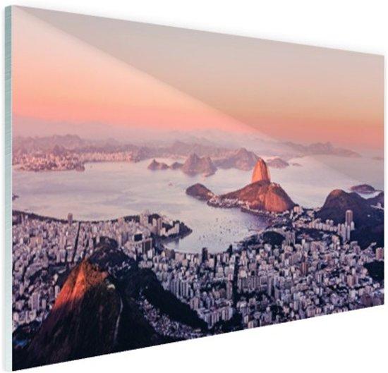 Roze zonsondergang Rio de Janeiro Glas 90x60 cm - Foto print op Glas (Plexiglas wanddecoratie)