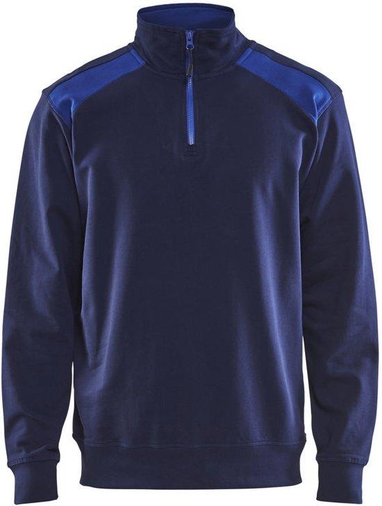 Blåkläder 3353-1158 Sweater halve rits Marineblauw/Korenblauw maat S