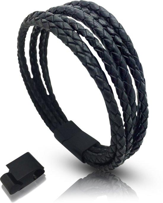 Armband leer Heren Galeara VAO zwart - Lederen armband met magnetische sluiting 21,5cm - 22,5cm