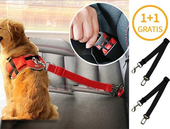 1 + 1 Gratis Auto Hondenriem Gordel- Honden Riem Autogordel Hondengordel Veiligheidsgordel Seat Belt - Veiligheid voor de Hond - Zwart