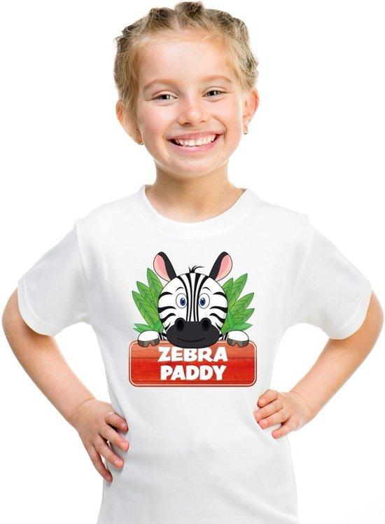 Paddy de zebra t-shirt wit voor kinderen - unisex - zebra shirt XS (110-116)