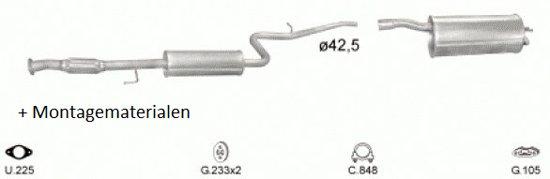 Complete uitlaat Fiat Doblo 1.6-16V (set1502)