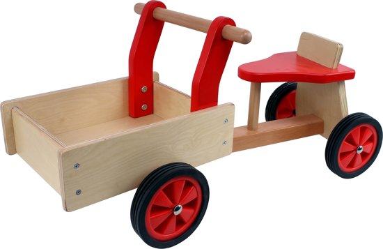 Playwood - Houten bakfiets rood met 4 wielen