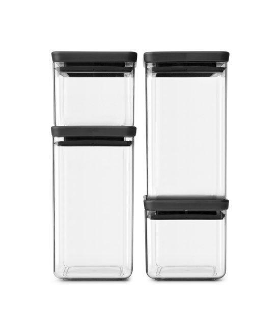 Brabantia Tasty+ Voorraadbussenset stapelbaar - 2x 0,7 l - 2x 1,6 l - Dark Grey