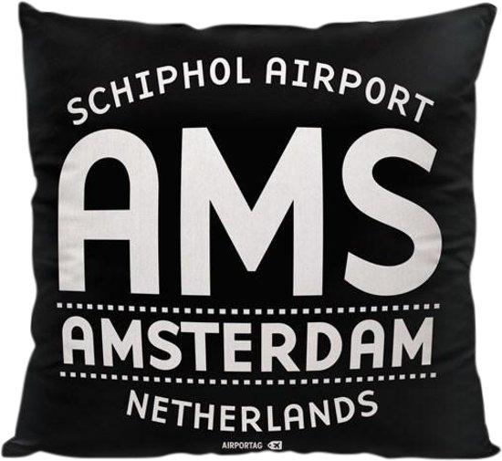 AMS Letters (Amsterdam, Nederland) - Sierkussen - Kleur Zwart - 40 x 40 cm - Reizen / Vakantie - Reisliefhebbers - Voor op de bank/bed