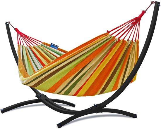 Potenza Grande- Tweepersoons Hangmatset / 2-persoons Hangmat met standaard (zwart)