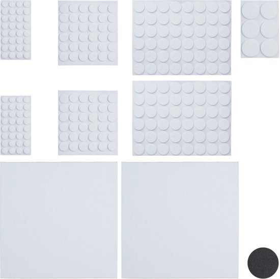 relaxdays vloerbeschermers - set van 240 - anti kras vilt - plakvilt - zelfklevend wit