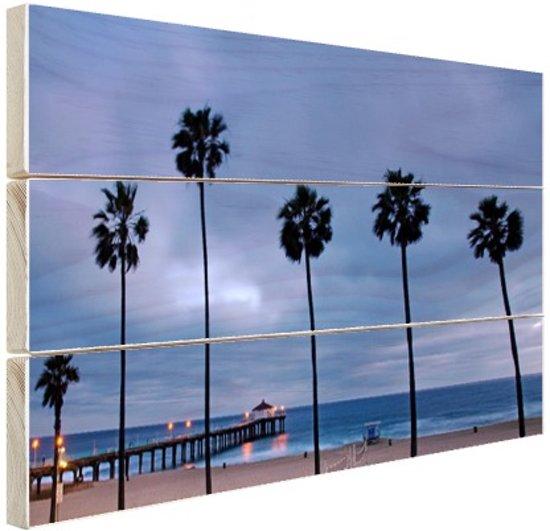 Manhattan beach zeezicht Hout 120x80 cm - Foto print op Hout (Wanddecoratie)