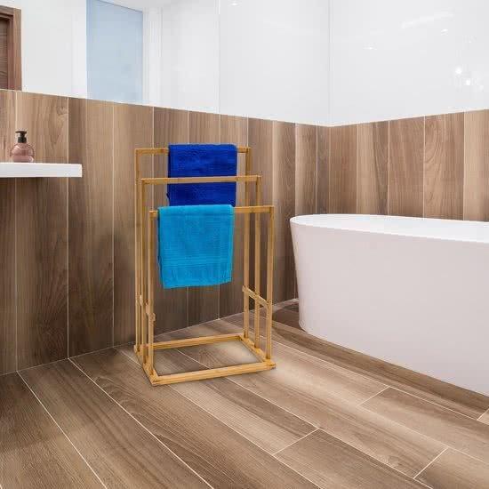 bol.com | relaxdays Handdoekenrek bamboe hout - Staand rek ...
