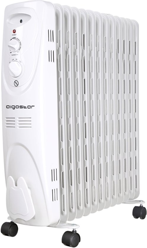 Aigostar Warm Snow 33JF – Oliegevulde radiator, 2500 watt, 13 ribben - Wit