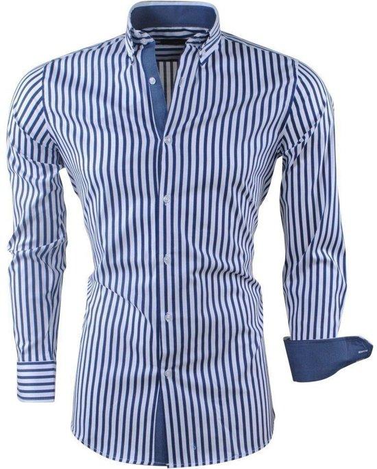 Navy Overhemd Gestreept MontazinniHeren MontazinniHeren Overhemd 0wknO8P