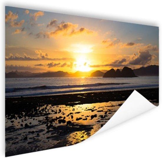 Zonsondergang in Azie  Poster 180x120 cm - Foto print op Poster (wanddecoratie woonkamer / slaapkamer) XXL / Groot formaat!