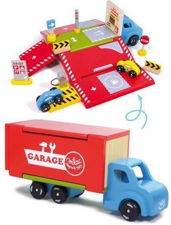 Grote houten speelgoed vrachtwagen en garage met accessoires