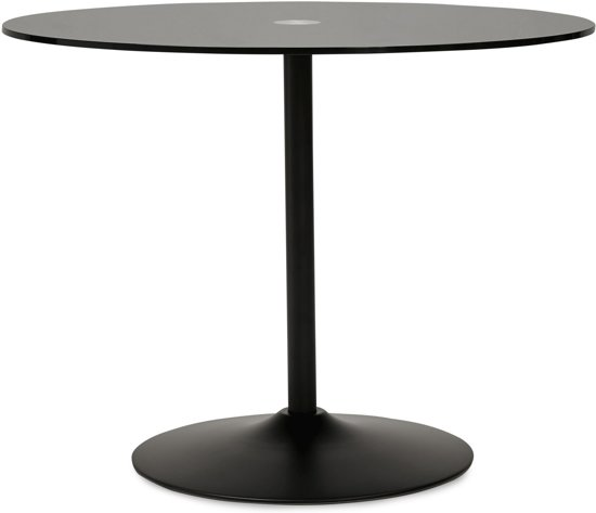 Glazen Tafelblad Rond.Bol Com 24designs Tafel Quinn Rond O100 Cm Zwart