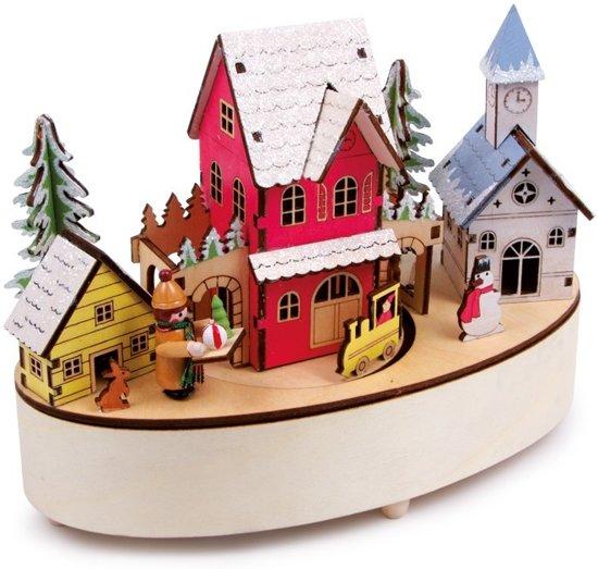 """Houten kerst dorp speeluurwerk & lamp """"Wintertijd"""""""