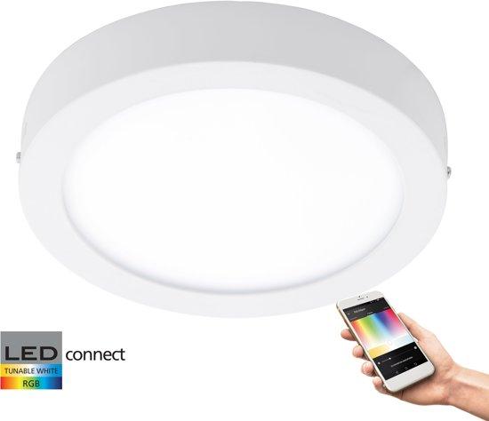 EGLO Connect Fueva-C - Wand/Plafondlamp - Wit en gekleurd licht - Ø300 - Wit