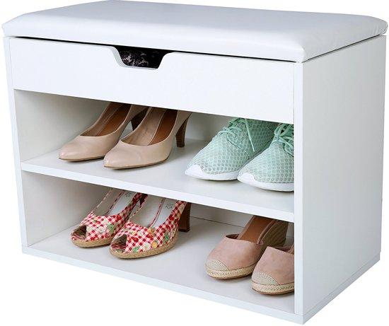 Schoenenkast voor 6 paar schoenen, schoenenrek, schoenrek, met zitplek, opbergvak